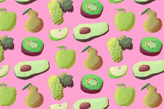 Фруктовый узор с авокадо