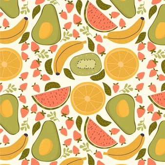 Fruits pattern with avocado