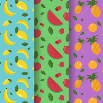 Fruits pattern with bananas, watermelon and pineapples collection