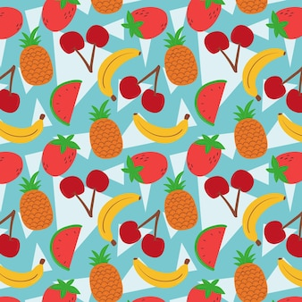Fruits pattern with bananas and watermelon