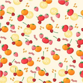 チェリーとオレンジのフルーツパターン