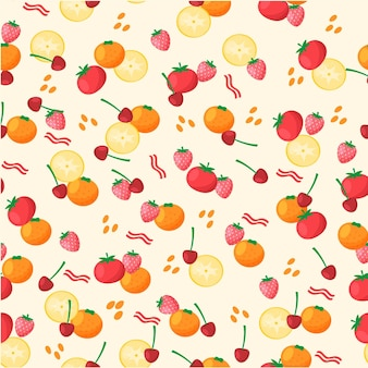 Fruits pattern with cherries and oranges