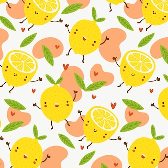 Fruits pattern with happy lemons