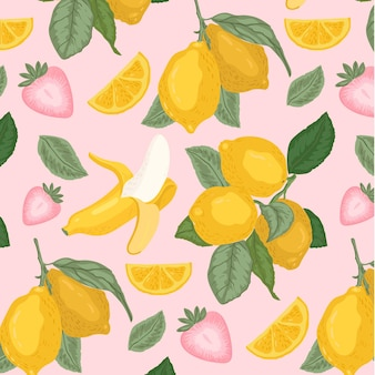 Fruits pattern with lemons and bananas