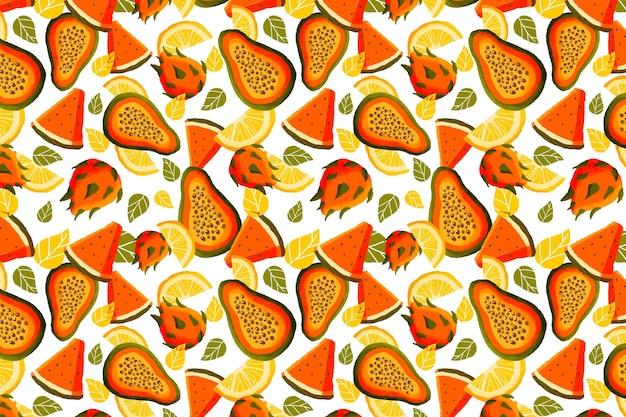 パパイヤとフルーツのパターン