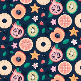 桃とフルーツパターン