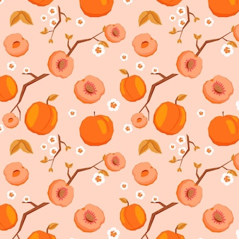 Fruits pattern with peaches