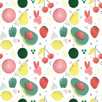 梨とフルーツパターン