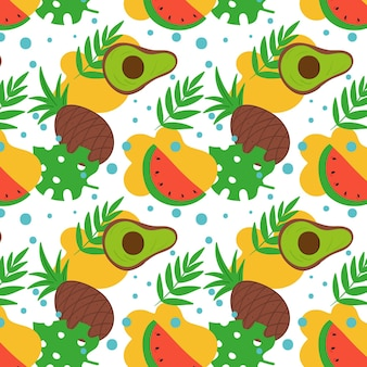 Fruits pattern with pineapple and avocado