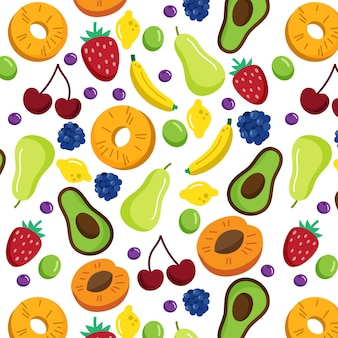 Fruits pattern with strawberries