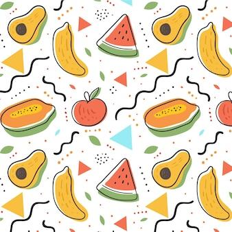 スイカとアボカドのフルーツパターン