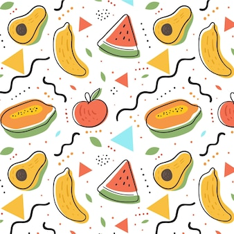 Fruits pattern with watermelon and avocado