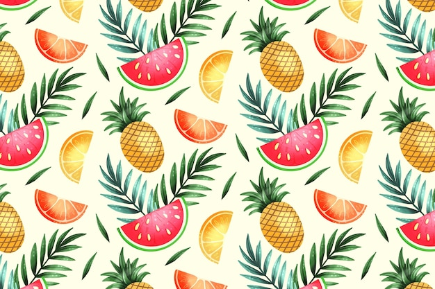 Fruits pattern with watermelon and pineapple
