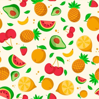 Fruits pattern with watermelon and pineapples