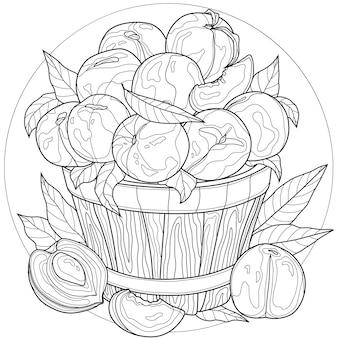 果物。バケツの中の桃。おいしいお菓子。子供と大人のための塗り絵の抗ストレス。禅もつれスタイル。白黒の描画