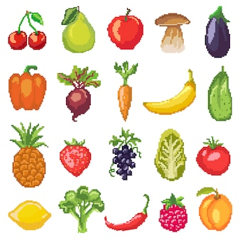 Fruits pixel vegetables vector healthy nutrition of fruity apple banana and vegetably carrot
