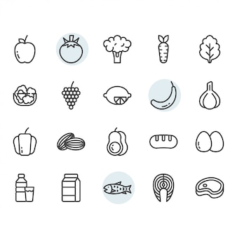 Fruits related icon and symbol set in outline
