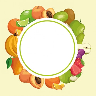 Fruits round frame cartoons