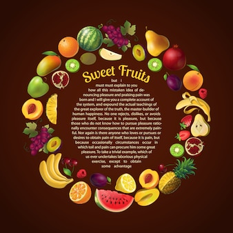 Composizione rotonda nella struttura di frutti con il modello del testo