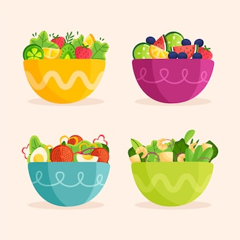 Fruits and salad bowls
