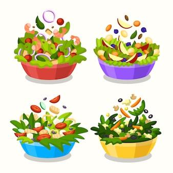 Fruits and salad bowls