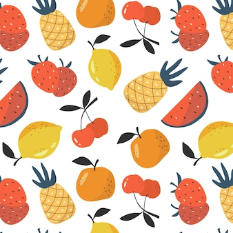 Fruits seamless pattern background pineapple orange strawberry lemon