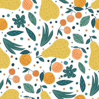 果物のシームレスなパターン。桜の果実、りんご、梨、葉手描きの壁紙。