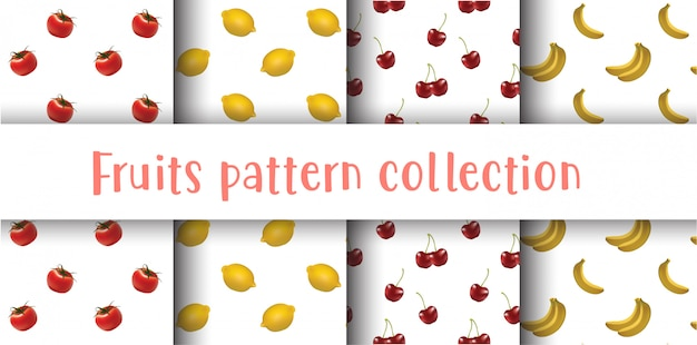 Fruits seamless pattern collection, fruits set.