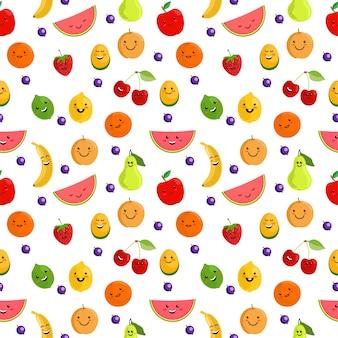 果物のシームレスなパターン。新鮮な果物とかわいい夏のシームレスなパターン背景イラスト。かわいいフルーツのキャラクター。白い背景で隔離の子供のための面白い果物。