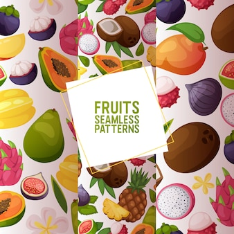 Fruits seamless pattern fruity apple banana and exotic papaya