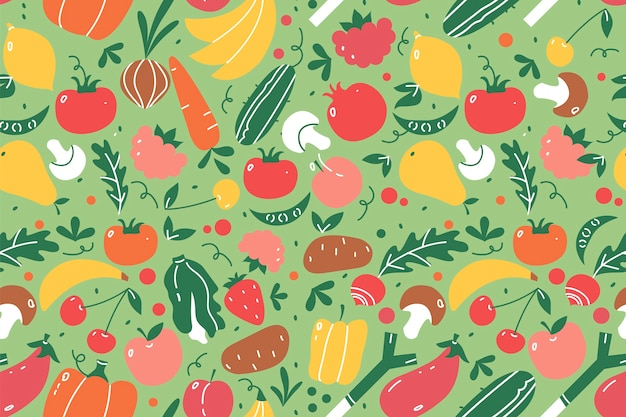 果物のシームレスなパターンセット。手描き落書きフルーツとベリービーガン栄養またはベジタリアンの食事メニュースイカマンゴーバナナとイチゴ。