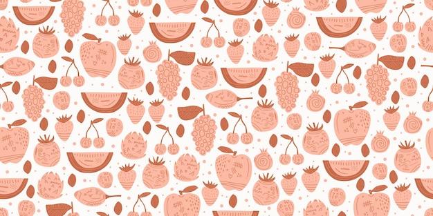 손으로 그린 핑크 색상으로 과일 원활한 패턴