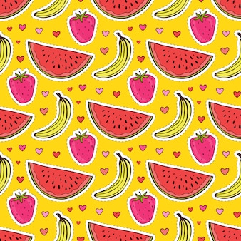 Fruits seamless pattern with watermelon