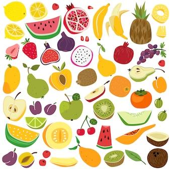 Фрукты установлены. симпатичные фрукты лимон арбуз банан ананас яблоко груша клубника свежий красочный смешно детская еда лето мультфильм