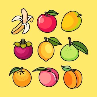 Иллюстрация набора фруктов