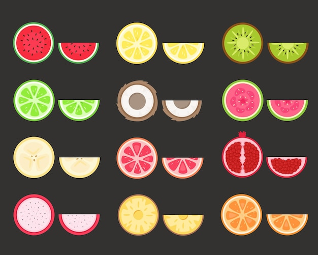 Fruits set. tropical and exotic fruits