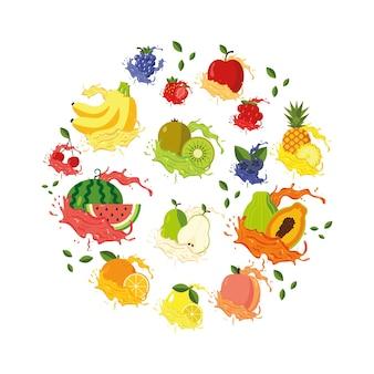 新鮮なジュースの周りに果物が飛び散る