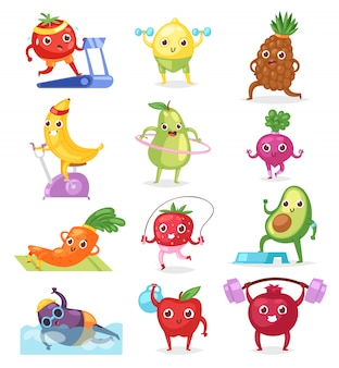 Фрукты спортсмена фруктовое выражение спортивного персонажа из мультфильма тренировки делая упражнения фитнес иллюстрации