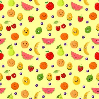 果物のスポーツマンのシームレスなパターン。かわいいスポーツフルーツのキャラクター。健康的な食事。新鮮な果物と夏のシームレスなパターン背景イラスト。明るい背景上の子供のための面白い果物。