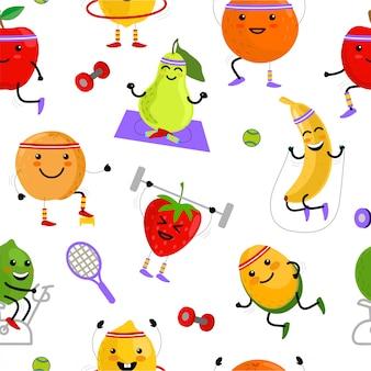 果物のスポーツマンのシームレスなパターン。スポーツフルーツのキャラクター。健康的な食事。新鮮な果物と夏のシームレスなパターン背景イラスト。かわいいフルーツのキャラクター。子供のための面白い果物。