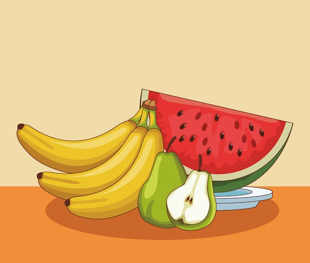 Fruits on table cartoons