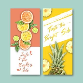 果物をテーマにしたチラシ。オレンジ、ライム、パイナップルの装飾。