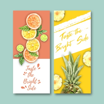 Fruits-themed flyer. orange, lime and pineapple for decoration.