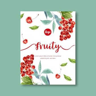 Fruits themed with cherries in white background for contrasting illustration template.