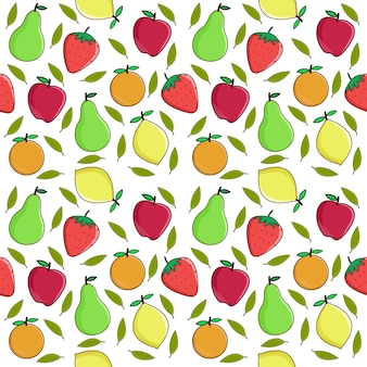 Fruits vector background, fruits seamless pattern