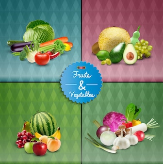 Fruits and vegetable poster design set