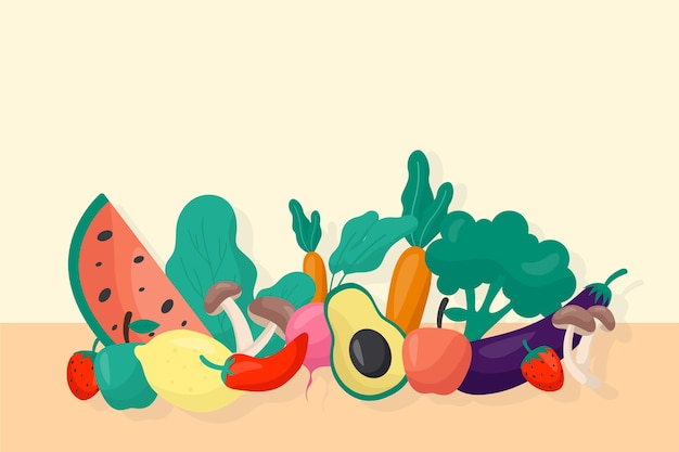 Fruits and vegetables background style