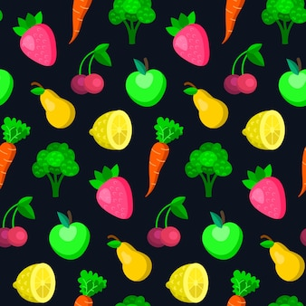Fruits, vegetables, berries seamless pattern