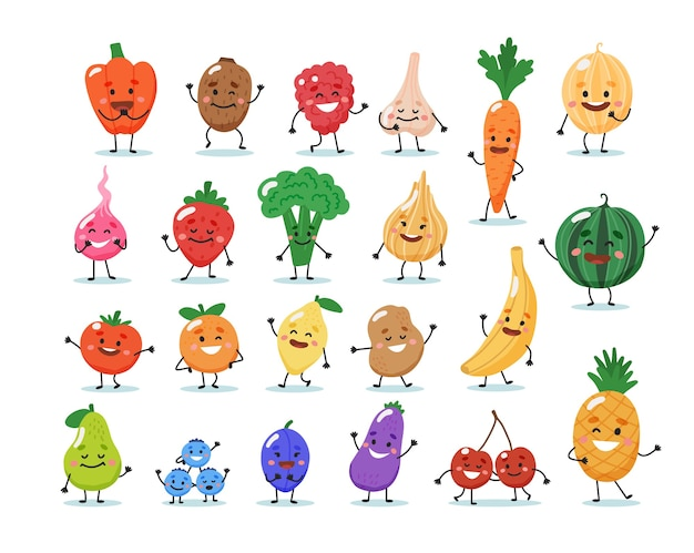Fruits and vegetables characters.