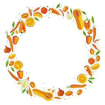 Fruits and vegetables circle frame. healthy food concept.